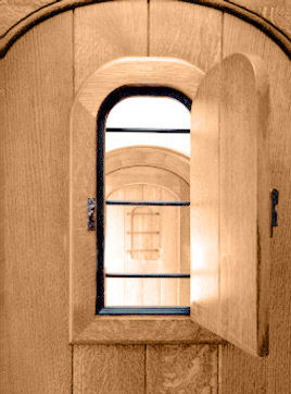 Wooden door with window